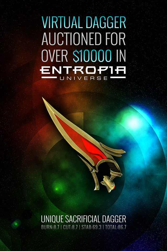Latest buzz get the latest info from the inside virtual dagger auctioned for over 10000 in entropia universe malvernweather Image collections